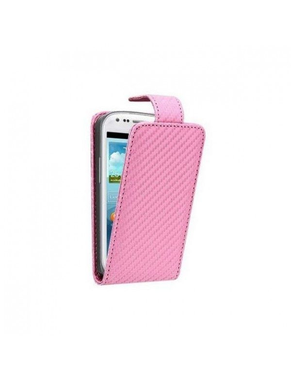 Etui Samsung Galaxy S3 Mini en fibre de carbonne Rose