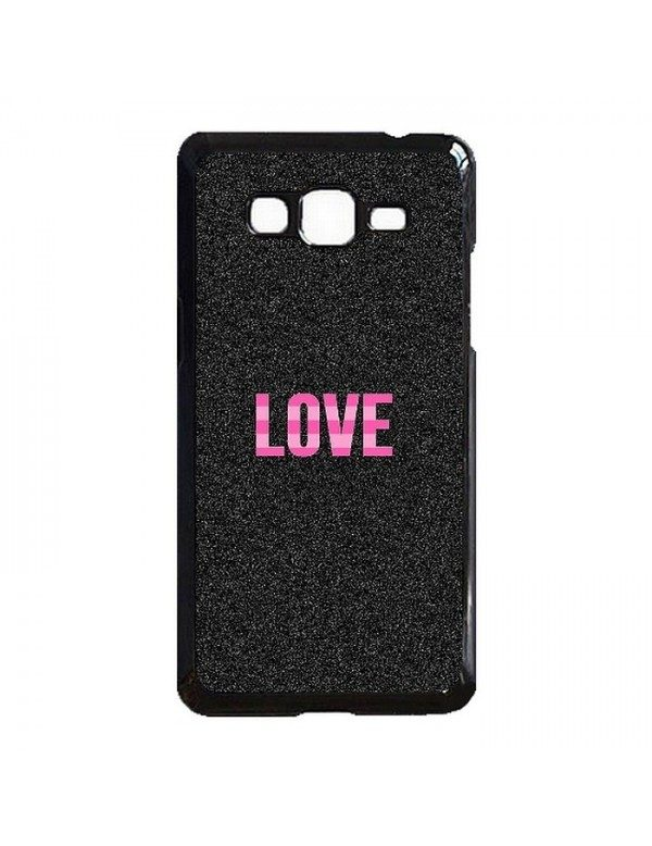 Coque rigide Samsung Galaxy Grand prime/Grand Prime VE - Love sur fond noir scintillant.