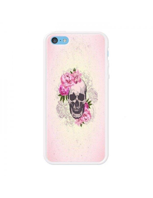 Coque rigide iPhone 5C - Skull fleurie rose
