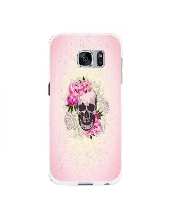 Coque rigide Samsung Galaxy S7 Edge - Skull fleurie rose