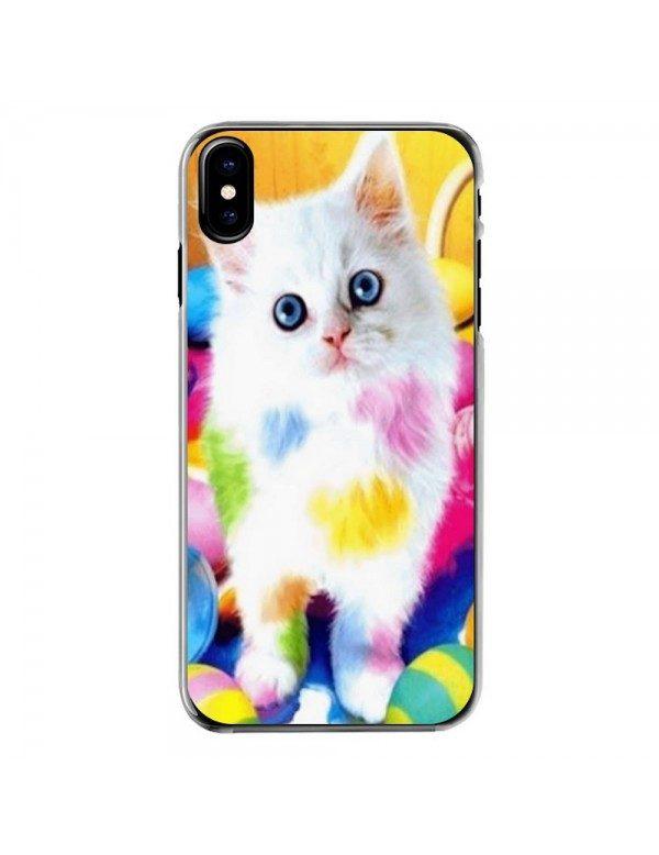 Coque iPhone X/XS - Chaton blanc peinture couleurs