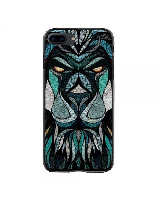 Coque rigide iPhone 7 Plus/8 Plus - Motif tête de lion tribal