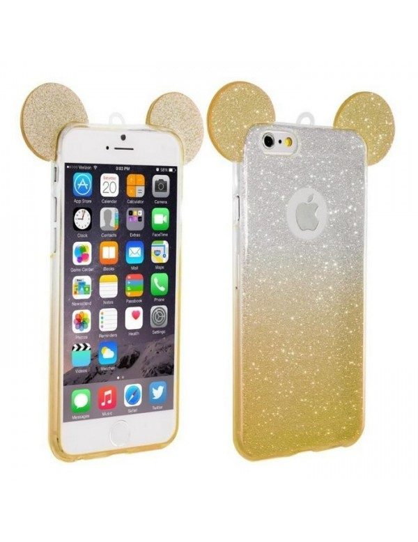 Coque silicone iPhone 5/5S - Oreilles de Mickey pailletée Or
