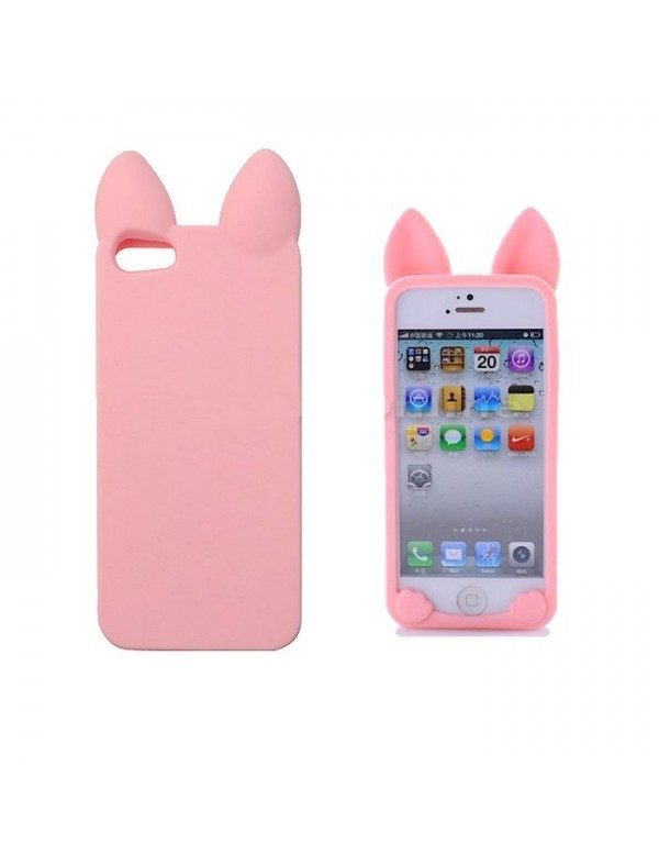 Coque silicone iPhone 5/5S Chat rose pâle Oreilles 3D