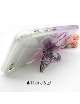 iPhone 5/5S coque souple transparente violet avec papillon 3D