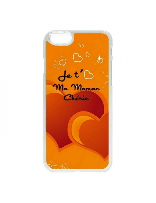 Coque rigide iPhone 4/4S orange - Je t aime ma maman cherie
